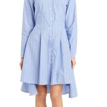 HDY Haoduoyi New Fashion Women Preppy Style  Tie Waist High Low Casual Single Button Long Sleeve Striped Shirt Dress