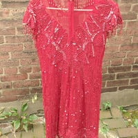 Vintage 1980's Lawrence Kazar red silk dress, red beaded sequin flapper dress, party dress, holiday fashion, Pittsburgh