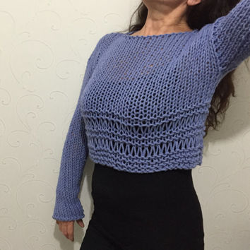 Wool sweater, cropped knit sweater, wool crop sweater, wool knit top, warm sweater, cozy crop sweater, womens sweater, knitted top, girl top