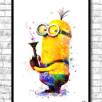 Minion 2 Despicable Me Watercolor Print Children's Room Decor Giclee Minion Poster Wall Art Wall Hanging Movie Poster Baby Room Nursery Art