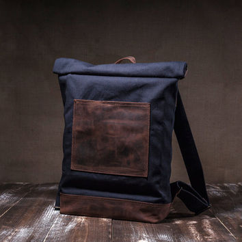 Canvas backpack - roll top - carry all rucksack - backpack men - rucksack backpack - navy blue - leather pocket