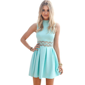 New Arrival 2016 blue Sleeveless Turtleneck Lace Stitching Mint women dress Party summer dress Casual Slim vestidos de festa