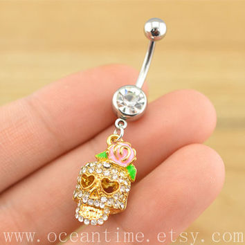 skull Belly Button Rings,skull Navel Jewelry steampunk belly button ring,skull  belly ring,friendship