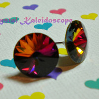 Multi Color Volcano Rivolis - Crystal Post Earrings handmade with Swarovski Elements, 12mm Studs