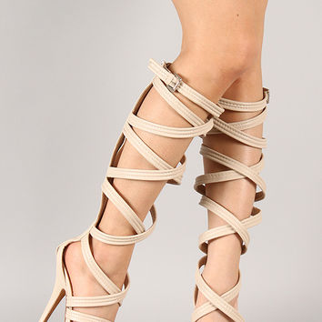 Milan-8 Strappy Gladiator Knee High Stiletto Heel