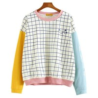 CROPPED CRAYON GRID SWEATER