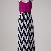 Chevron Bottom Solid Top Maxi Dress - Magenta