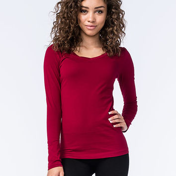 Active Basic V-Neck Womens Tee Burgundy  In Sizes