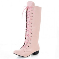Hot Sale Princess Knee High Lace Up Boots Square Heel Shoes Lady Sweet Round Toe Solid Shoes Woman Alternative Measures