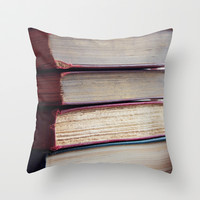 Book Junkie Throw Pillow by Courtney Burns