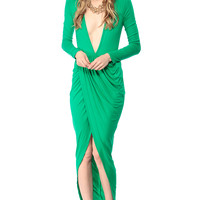 Green Overlapped Tulip Maxi Dress