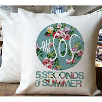 5 Second Of Summer Vintage Flower - Housewares , Home Decor , Pillow Case One Side / Two Sides Design