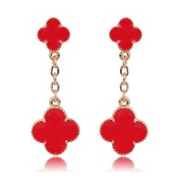 Beady Cleef Double Clover - Gold & Red