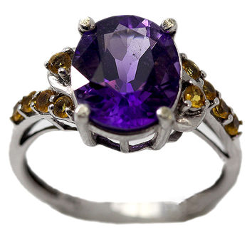 Estate 10K White Gold Ring with Amethyst and Citrine