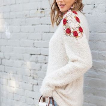Easel Crochet Roses Fuzzy Tunic Sweater - Oatmeal