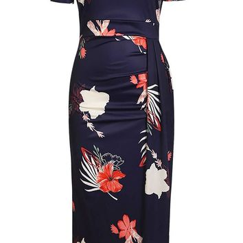 Floral Print Short Sleeve Off Shoulder Midi Bodycon Dresses