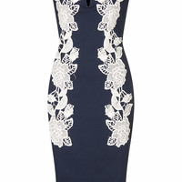 **NAVY BODYCON DRESS WITH LACE BY RARE