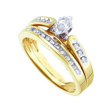 10kt Yellow Gold Women's Marquise Diamond Bridal Wedding Engagement Ring Band Set 1/5 Cttw - FREE Shipping (US/CAN)