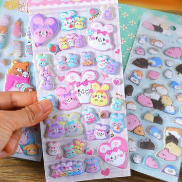 Cute 3D 20 Designs Animal Label Stickers Decorative Stationery Stickers Scrapbooking DIY Stickers Diary Album Stick Label