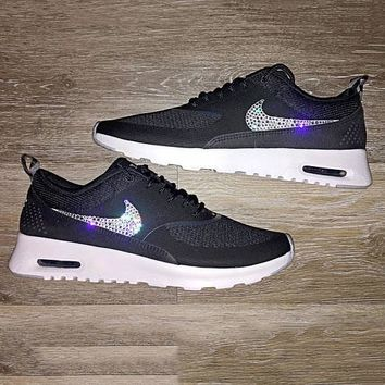 Nike Air Max Thea Diamond Hook Shining Sequin Hook Women Men Run 79bbd03777