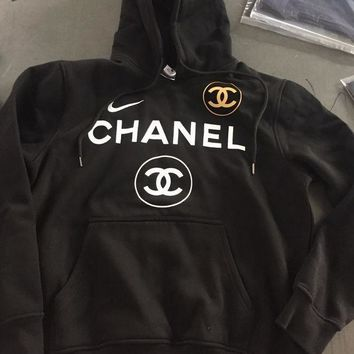VONE056 Nike x Chanel Print Hooded Pullover Tops Sweater Sweatshirts