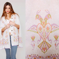 Vintage 70s Knit Cape Pastel LOVEBIRD Novelty Print FOLK Shawl O/S