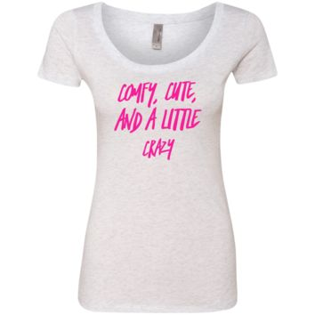 Cute Crazy Hot Pink Font Ladies' Triblend Scoop