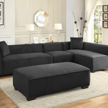 Home Elegance 8303-4PC 4 pc metz collection graphite fabric upholstered sectional sofa set with upholstered backs and arms with ottoman