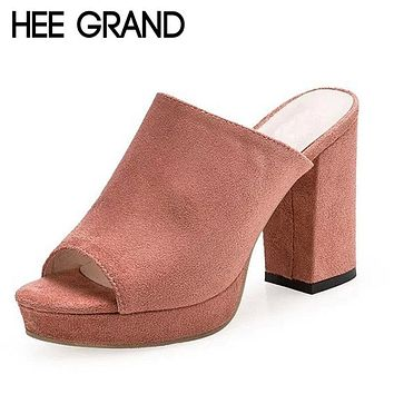 HEE GRAND Faux Suede Mules Summer Sexy High Heels Platform Shoes Woman Slippers Slip On Slides Pumps Casual Women Shoes XWZ3250