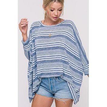 Striped Spring Sweater - Navy