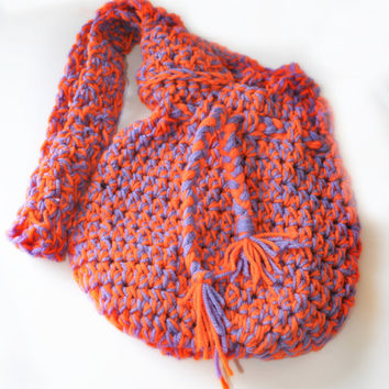 Clemson Market Bag - Crocheted Drawstring Shopping Tote Handmade by The Hippie Patch