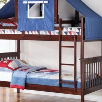 Miles Cappuccino Bunk Bed with Blue Tent Kit