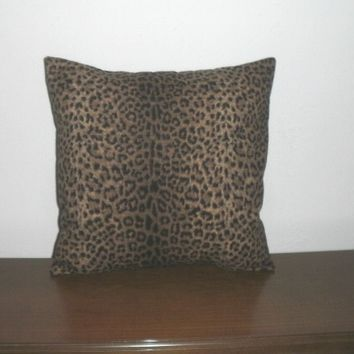 Decorative Pillow Cover - 16 Inch Black and Brown Leopard Print