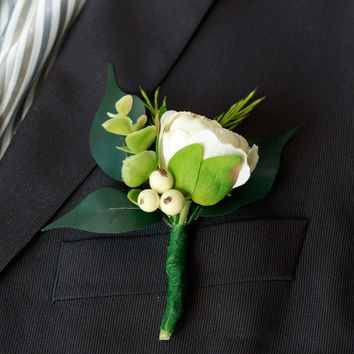 Silk Cream Ranunculus and Berry Boutonniere