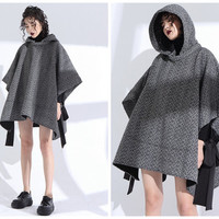cape coat,cape coat wool,womens cape,cape jacket,hooded cape,wool cape coat,gray cape,wool poncho,cloaks and capes,cloak coat.--E0799
