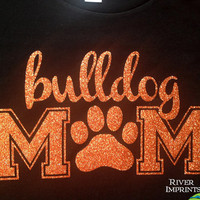 BULLDOG MOM, glittery sparkle tee shirt in your choice of shirt styles