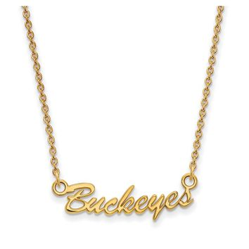 NCAA 14k Gold Plated Silver Ohio State Small Pendant Necklace