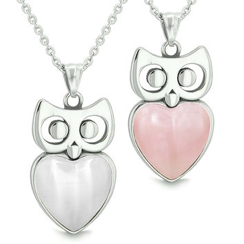 Amulets Owl Cute Hearts Love Couples Set White Cats Eye and Pink Pendant Necklaces