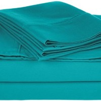 Cotton Blend 800 Thread Count , Deep Pocket, Soft, Wrinkle Resistant Twin XL bed Sheet Set, Solid, Teal