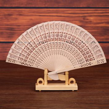 Bamboo Hand Fans Wooden  Folding Dance Flower Fan Home Wedding Decor Party Event Favors Gift Chinese Japanese Style 7 inch F608