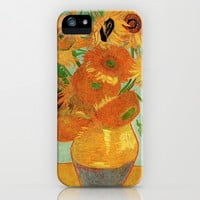 Still Life - Vase with Twelve Sunflowers, by Vincent van Gogh.  iPhone & iPod Case by NatureMatters