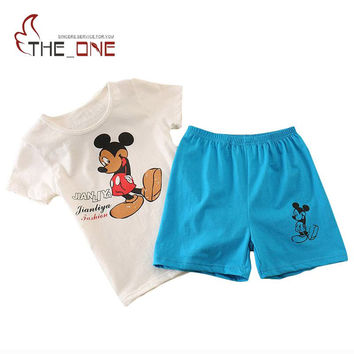 Pretty Baby 2017 3-6T Children Boys Girls Mickey Cotton Suit Clothes Kids Boy T-Shirts + Shorts 2 Piece Children Summer Set Boy