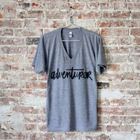 Adventurer Tshirt - Hand-lettered Calligraphy Typography Design - American Apparel Super Soft Tee - Gift for Travelers, Adventurers