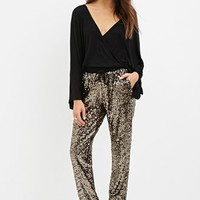 Drawstring Sequined Joggers