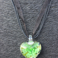SALE: Flower-in-Heart Pendant Necklace! (Murano Glass) (Green)