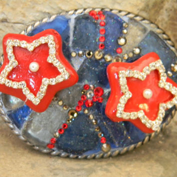 Mosaic Sea Glass Belt Buckle Red White and Blue Patriotic Swarovski Crystal