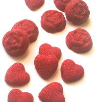 Raspberry Flavored Sugar Hearts and Flowers- 6 Oz Bag Sugar Cubes for Champagne Toasts, Tea Parties, Favors, Tea, Coffee, Lemonade, Cider