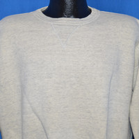 60s Heather Gray V Stitch Crewneck Sweatshirt Extra Large