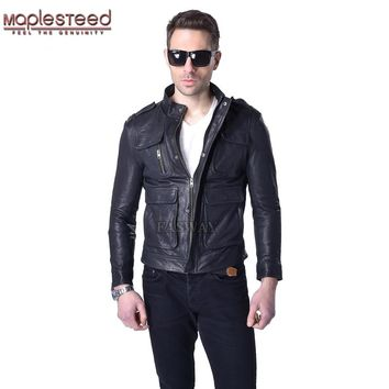 MAPLESTEED Brand Genuine Leather Jacket Men 100% Sheepskin Vegetable Tanned Leather Coat Black Yellow Slim Fit Jacket Autumn 008