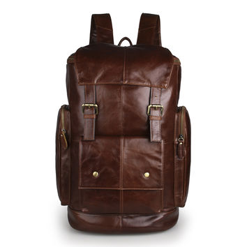 New Products Vintage Cow Leather Fashionable Design Backpack Big Capacity  _Backpacks_Men's Leather Bags